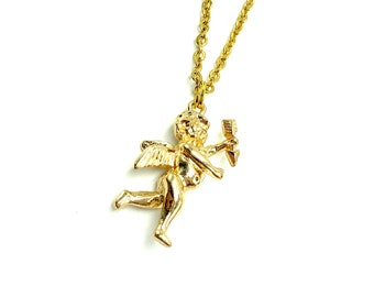 CHERUB: dainty gold tone cherub necklace