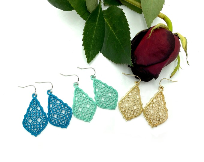 ADRIENNE: dangly filigree earrings in multiple color options