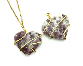 LEPIDOLITE: wire wrapped heart pendants