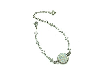 URSULA: simulated druzy and crosses stainless steel bracelet