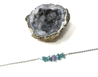 REGAL: apatite and purple jade crystal chip necklace