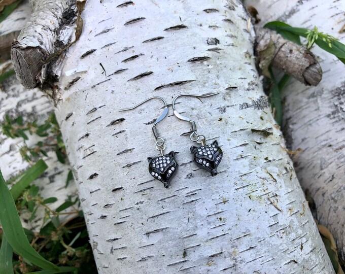 FOX: delicate black pave fox earrings