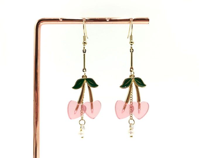 CHERRY PIE: adorable pink and gold dangly cherry earrings