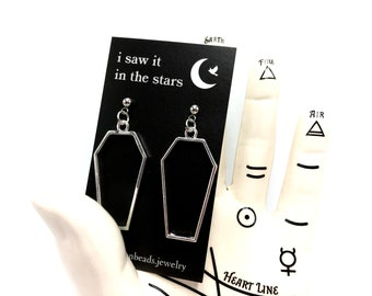 COFFIN: lightweight dangly coffin drop earrings