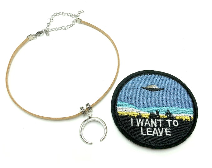 I WANT TO LEAVE: patch and faux suede choker set