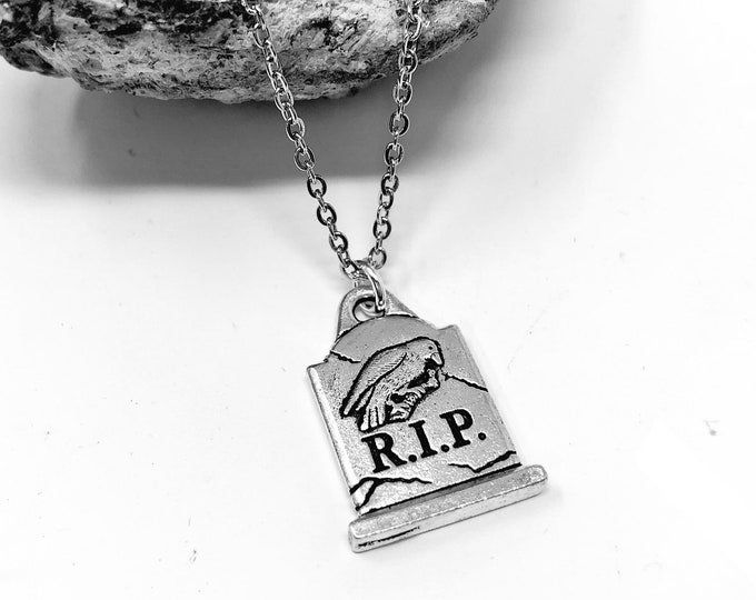 RIP: nevermore gravestone necklace