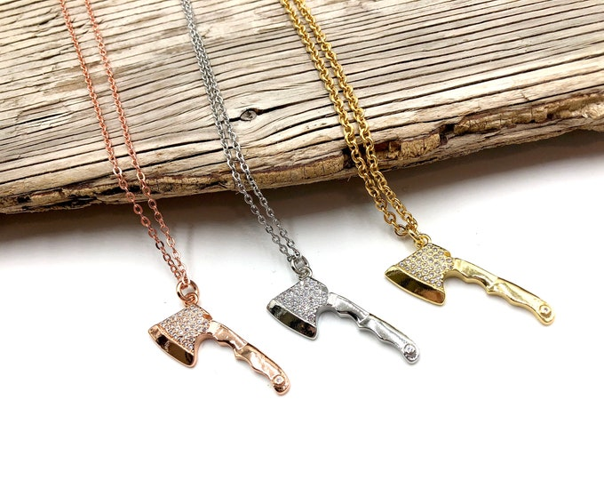 LIZZIE: bejeweled ax necklaces in rose gold, silver and gold