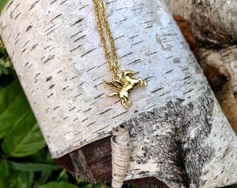 PEGASUS: delicate 14k gold plated pegasus necklace