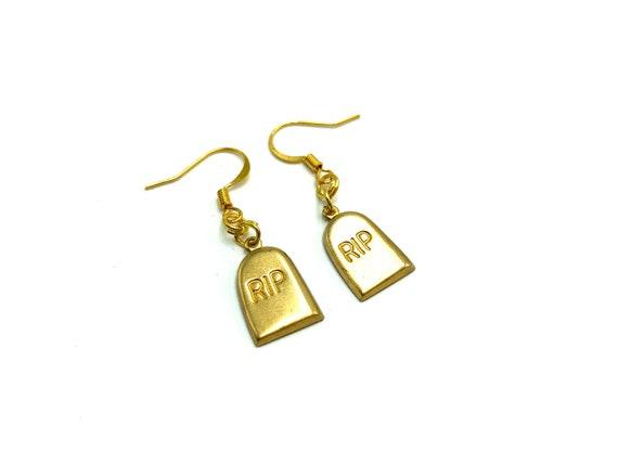 RIP: brass tombstone earrings