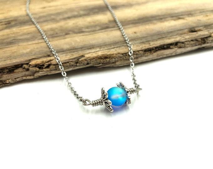 JACOB: silver aura bead necklace