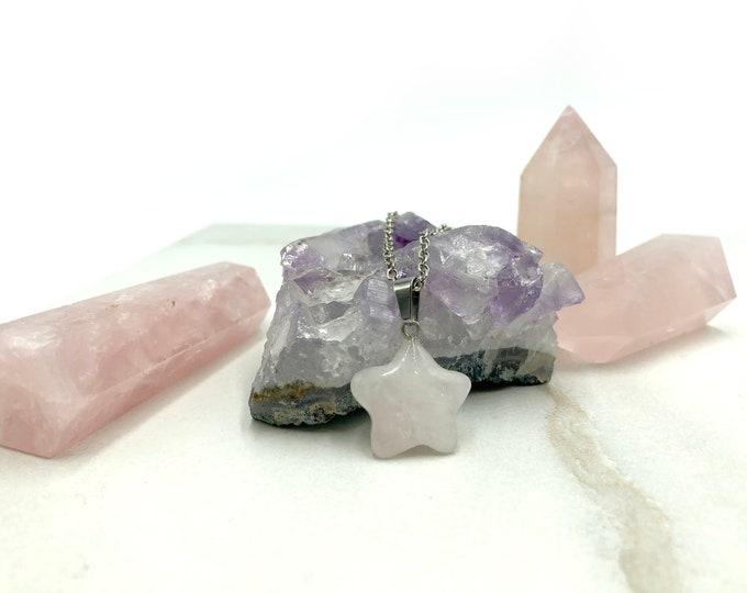 FIONA: rose quartz star necklace