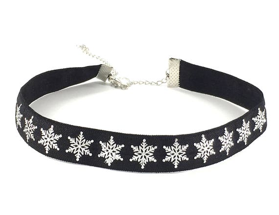 FROZEN: black and silver snowflake elastic choker