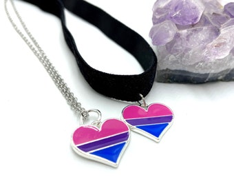 BISEXUAL: heart bisexual flag necklace