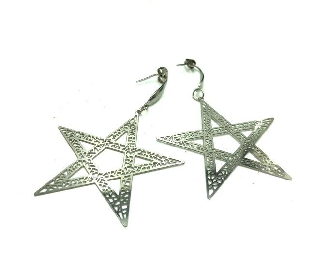 SECRET SOCIETY: stainless steel drop pentacle star earrings