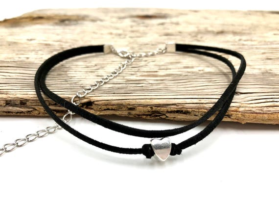LOVELY: double cord faux suede heart choker