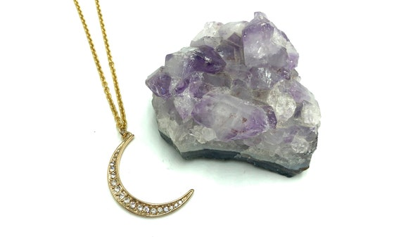 LUCINE: pave crescent moon necklace