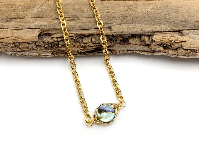 ABALONE: wire wrapped shell necklace