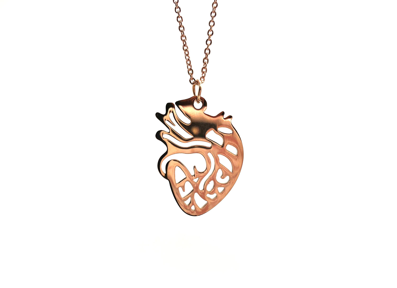 ANATOMY: rose gold anatomically correct heart necklace