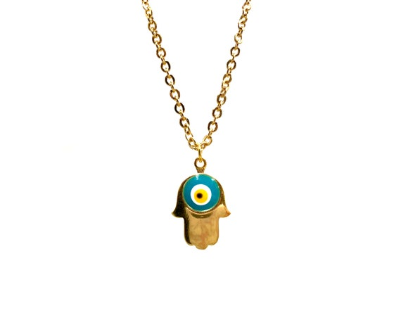 HAMSA: gold evil eye hamsa necklace