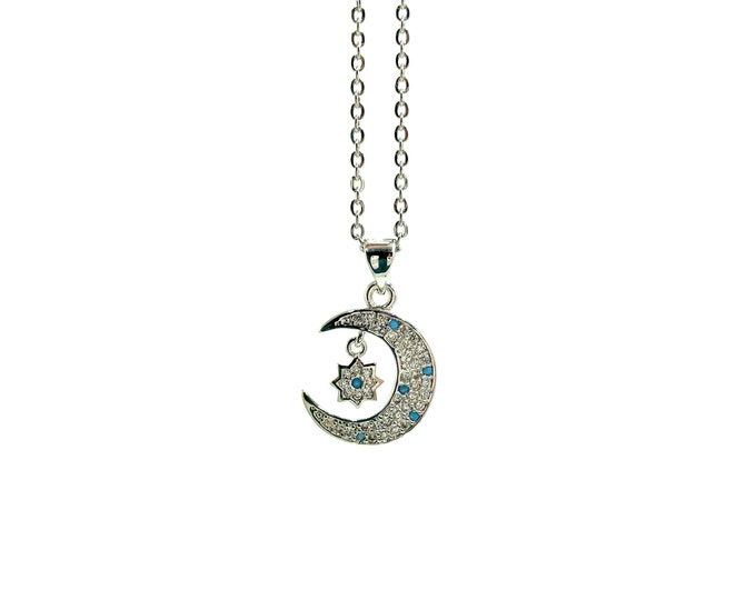 DREAMER: pave crescent moon necklace
