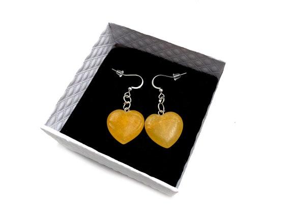 SUNSHINE: golden quartz heart earrings