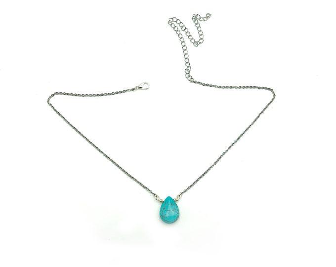 JEN: faux turquoise teardrop necklace