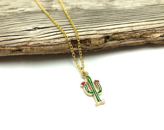CACTUS: gold tone cactus necklace