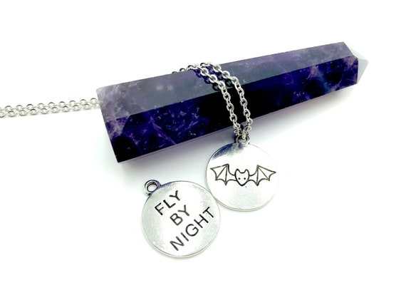 FLY BY NIGHT: silver bat necklace