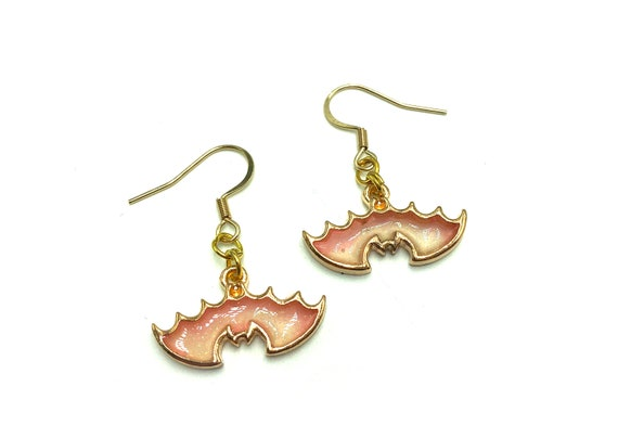 PASTEL BAT: pink ombre resin bat earrings