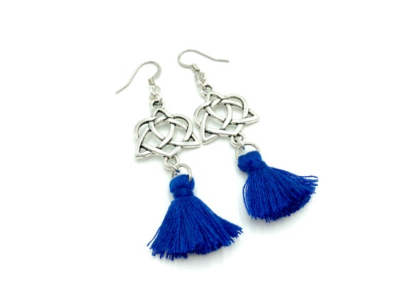 TRIQUETRA: celtic knot earrings with blue tassels