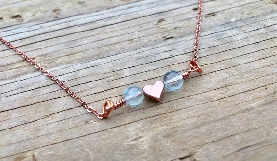 BLUE TOPAZ: rose gold genuine stone necklace
