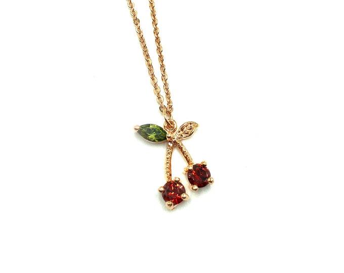 CHERRY POP: premium rose gold cherry zirconia necklace