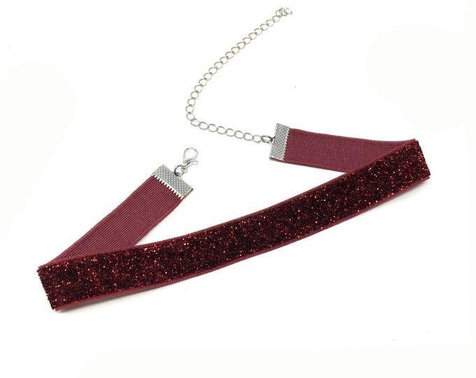 FINE WINE: deep red glitter elastic choker