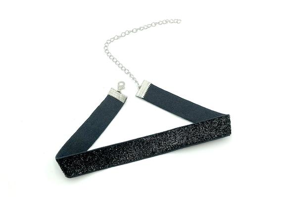 EVE: black sparkle elastic choker