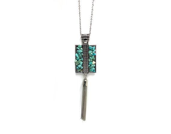 ANA: howlite turquoise statement tassel necklace