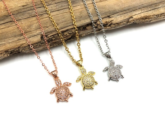 TULLY: pave turtle necklace in rose gold, gold and silver
