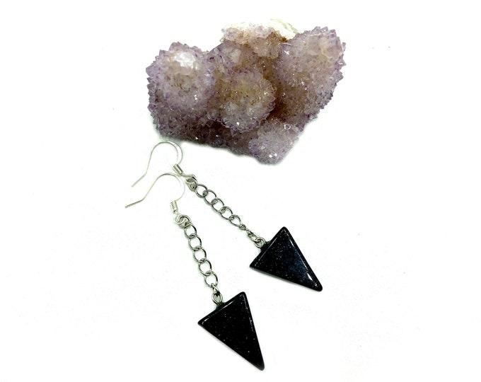 BLAIR: blue goldstone drop earrings
