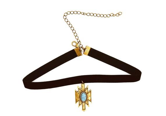 SOPHIA: bronze and faux turquoise elastic velvet choker