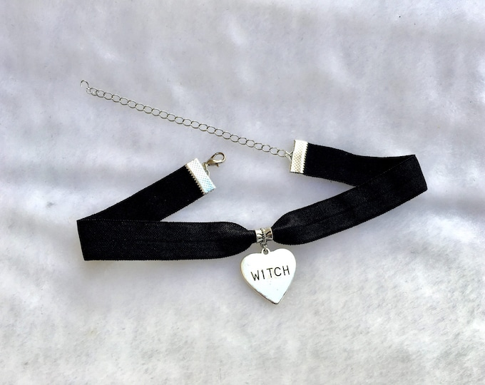 WITCHY: black hand-stamped witch choker