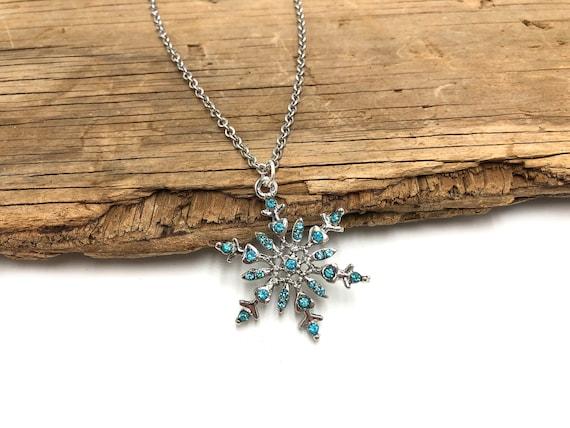 SNOWFLAKE: blue gem snowflake necklace