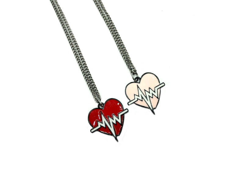 red or gold enamel necklace on gunmetal chain HEARTBEAT