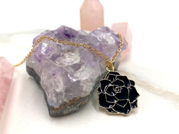 DARK ROSE: black rose enamel necklace