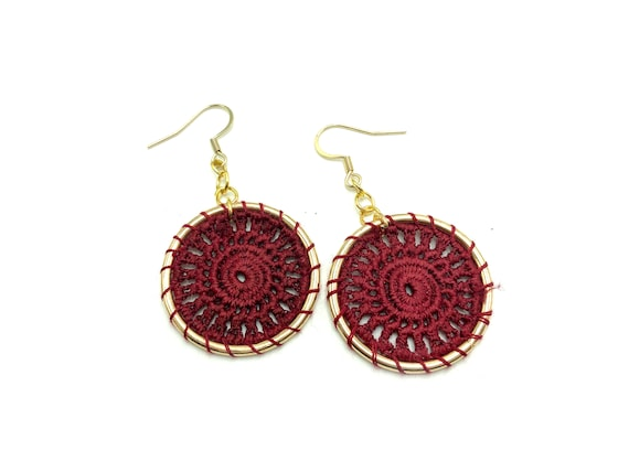 NORA: maroon crochet earrings