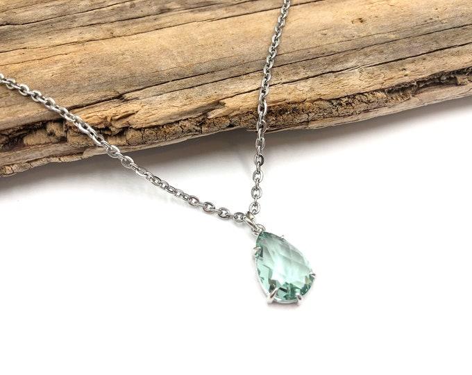 MERMAID TEARS: erinite glass rhodium teardrop necklace