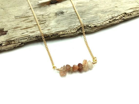 SUNSTONE: raw sunstone healing necklace