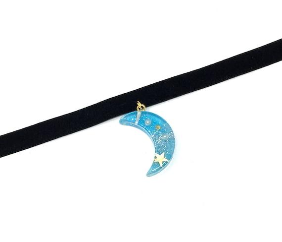 BLUE MOON: black elastic velvet choker