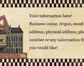 Prim business card etsy premade business card customized with your information pdf you print 10 to a sheet and jpeg of the primitive calling card homespun saltbox colourmoves