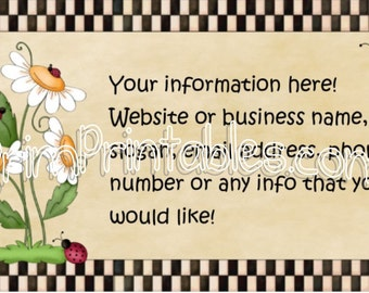 Ladybug Customized Business Card JPEG and PDF File You Print for Crafters and Personal Use
