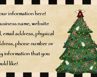 Christmas Tree Customized Business Card Printable Business Card - You Print - DIY Craft - Supply Supplies - PDF and JPEG - Gingers Snowmen