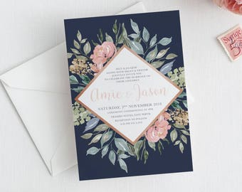 Navy Blush Wedding invitation, wedding invitations, printable invitation, wedding invite, invitation template, wedding invites CLARRISA